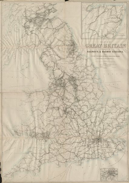 """Associate Product """"Great Britain showing all the railways…"""". DOWER. 4 sheets. 133x95cm c1863 map"""