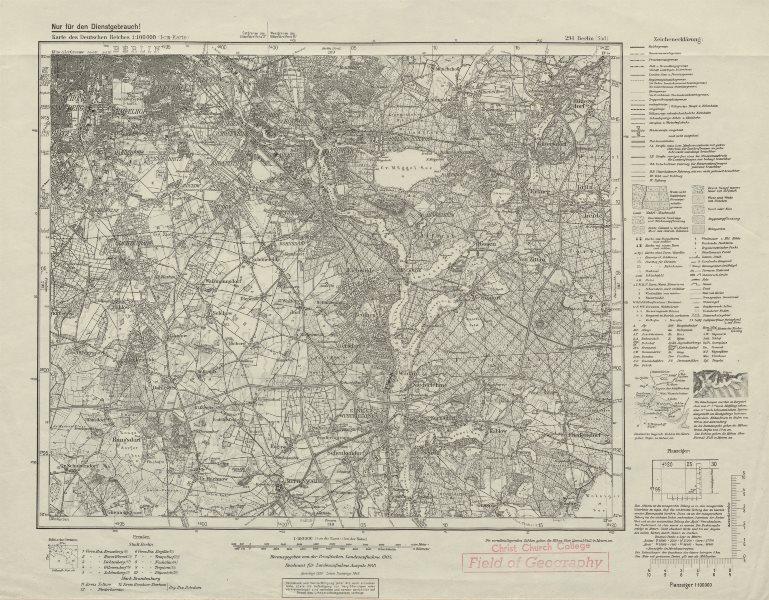 Associate Product WW2 Nazi map SE Berlin Sheet 294 Berlin (Süd) Teltow Köpenick Tempelhof 1943