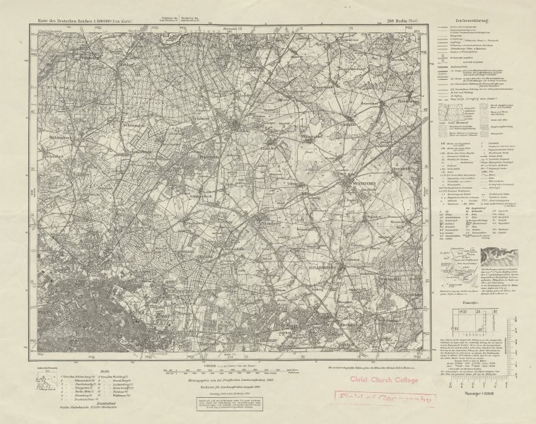Associate Product WW2 Nazi map NE Berlin Sheet 269 Berlin (Nord). Niederbarnim Oberbarnim 1944
