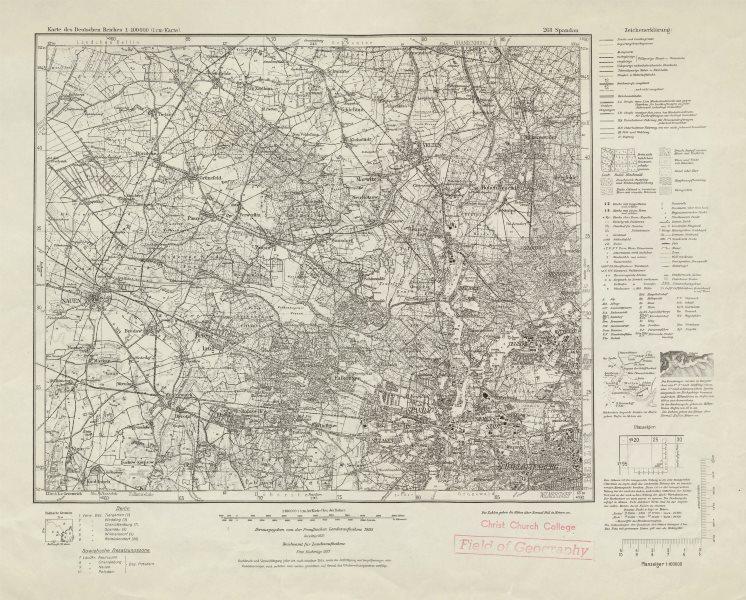 Associate Product WW2 Nazi map NW Berlin Sheet 268 Spandau Oranienburg Nauen 1937 old