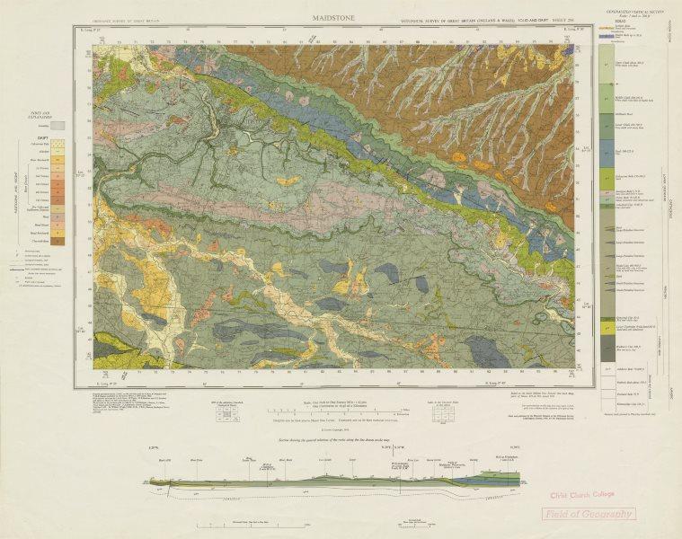 Associate Product Maidstone. Geological survey map. Sheet 288. Kent Kent Downs River Medway 1966