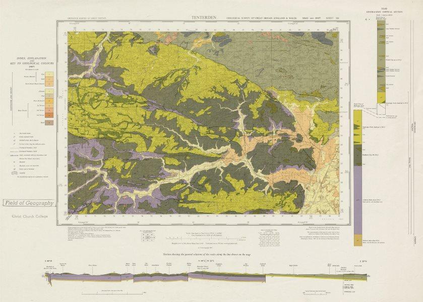 Associate Product Tenterden geological survey sheet 304 High Weald vineyards Biddenden 1967 map