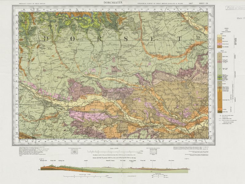 Associate Product Dorchester. Vintage geological survey map. Sheet 328. Dorset Dorset Downs 1973