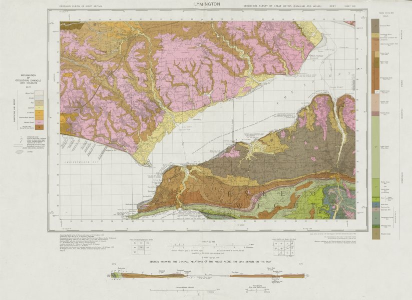 Associate Product Lymington geological survey sheet 330 Isle of Wight Yarmouth Cowes 1975 map