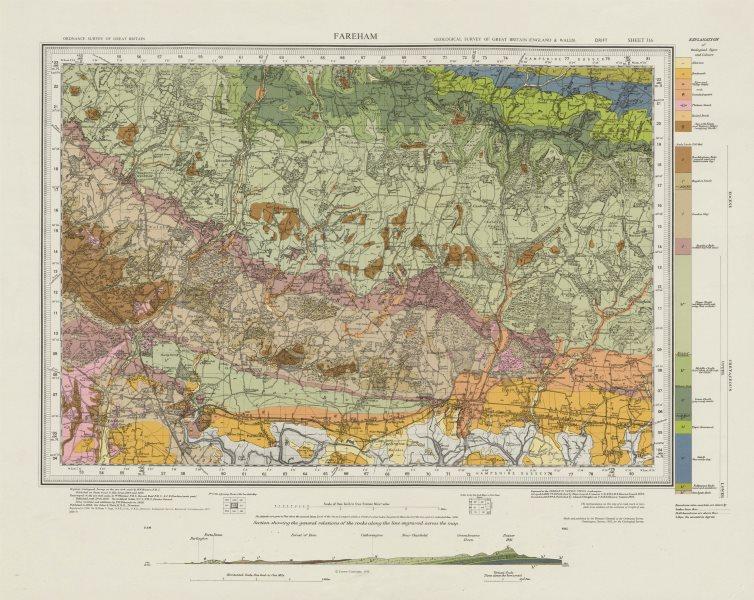 Associate Product Fareham geological survey sheet 316 Havant Emsworth South Downs 1971 old map