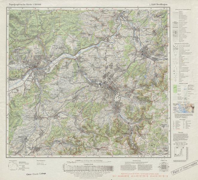 L7520 Reutlingen Tübingen Metzingen Pfullingen Dußlingen Mösslingen 1972 map