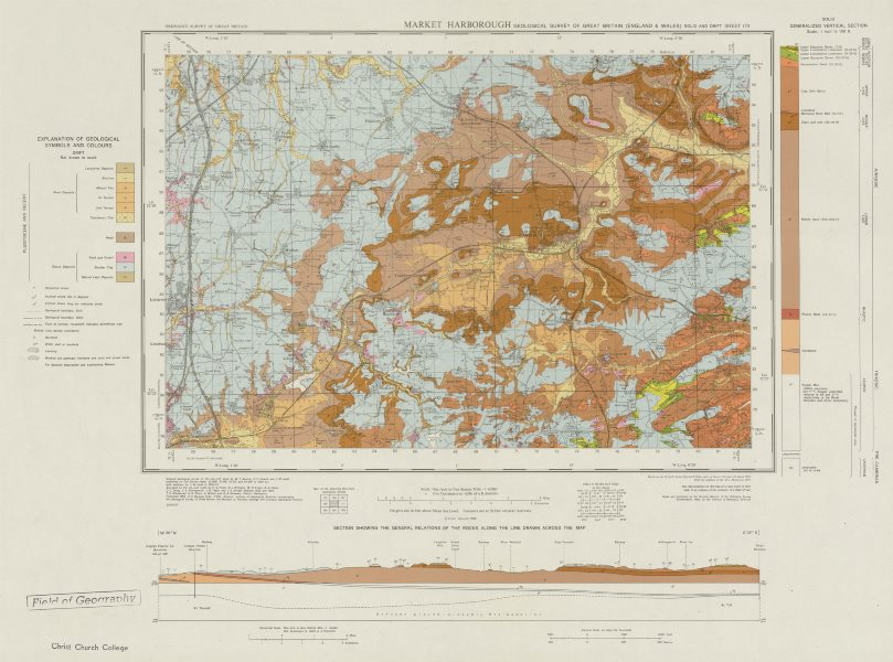 Associate Product Market Harborough geological survey sheet 170 Leicestershire Desborough 1969 map