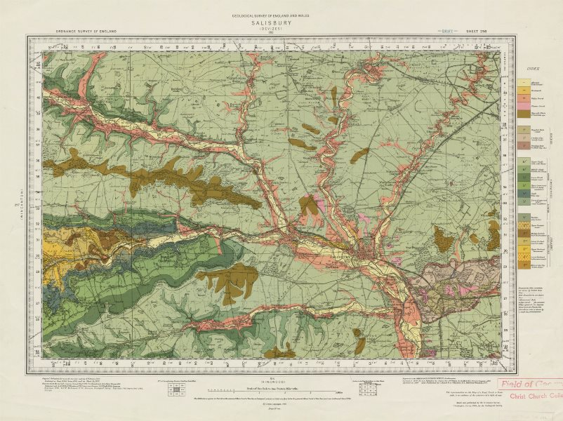 Associate Product Salisbury geological survey sheet 298 Wiltshire Cranbourne Chase 1961 old map