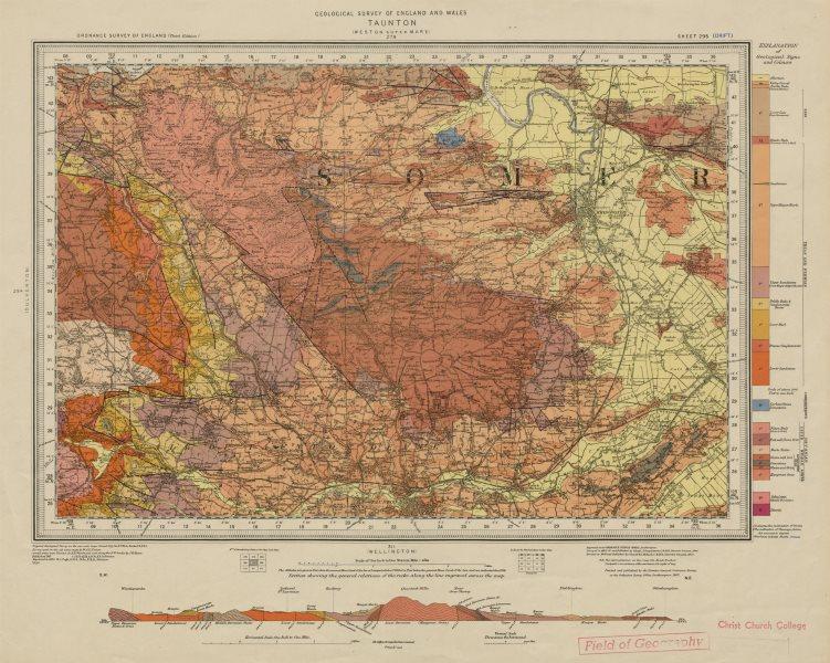 Associate Product Taunton geological survey map sheet 295. Somerset Quantock Hills Bridgwater 1956