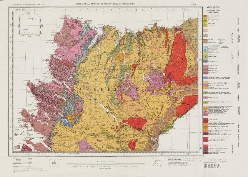 Associate Product Sutherland geological survey map sheet 5. Scotland Scottish Highlands 1972