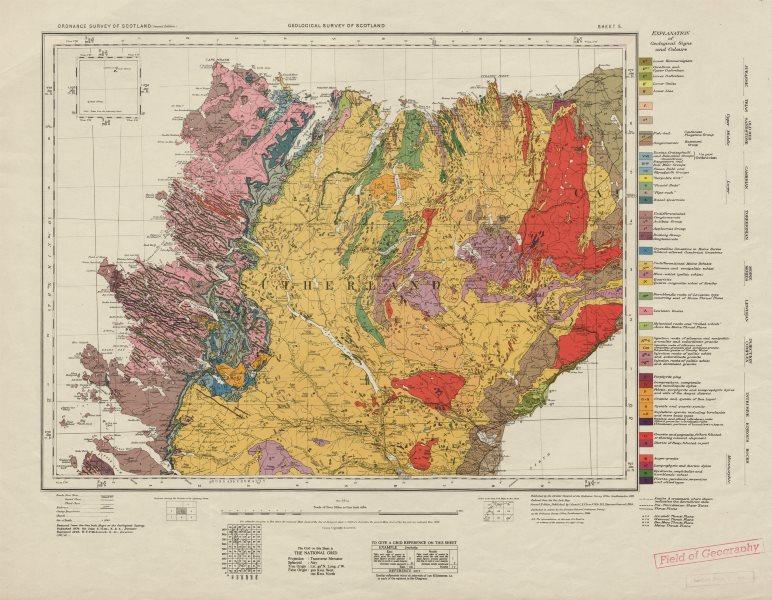 Associate Product Sutherland geological survey map sheet 5. Scotland Scottish Highlands 1948