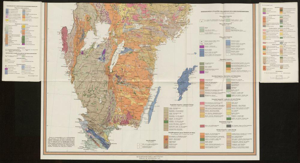 Associate Product Karta över Sveriges Berggrund. Sweden Pre-quarternary rocks south sheet 1958 map