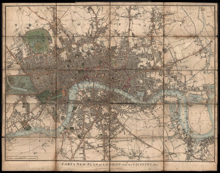 """Associate Product """"Cary's New Plan of London and its Vicinity"""", by J & G Cary. 67x85cm 1825 map"""