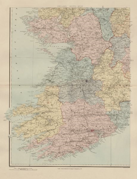 Ireland south-west Munster Kerry Limerick Cork Clare Limerick. STANFORD 1896 map