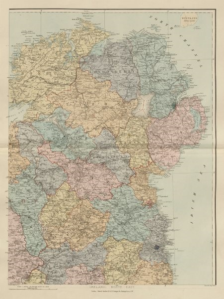Associate Product Ireland north-east Ulster Down Antrim Armagh Londonderry &c. STANFORD 1896 map