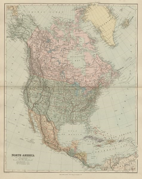 North America Manitoba postage stamp USA Canada. STANFORD 1896 old antique map