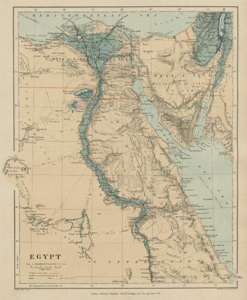 Associate Product Egypt. Nile valley Sinai Red Sea Gulf of Aqaba Sharm el-Sheik. STANFORD 1896 map