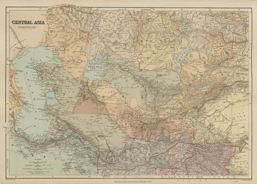 Associate Product Central Asia. Trans-Caspian Aral Sea Khiva Bokhara Sirdaria STANFORD 1896 map