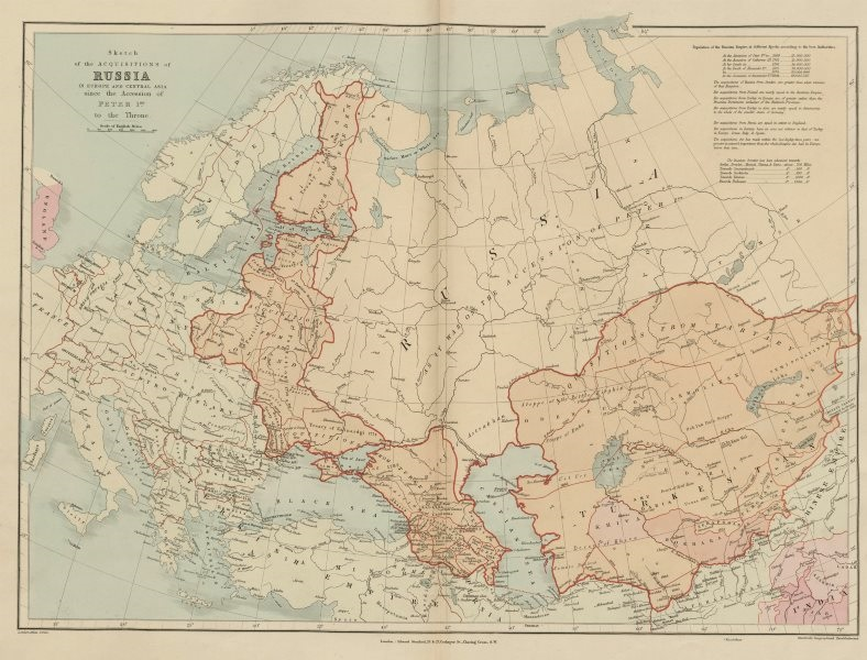 Associate Product Russian acquisitions in Europe & Central Asia since 1689. STANFORD 1896 map