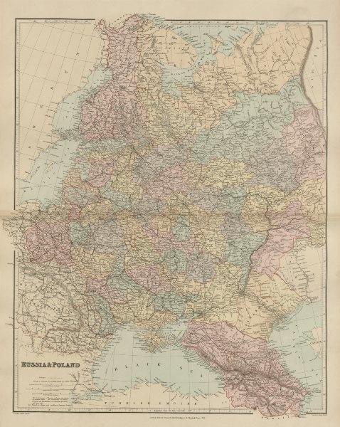Associate Product Russia & Poland. Caucasus. Republics krais oblasts railways. STANFORD 1896 map