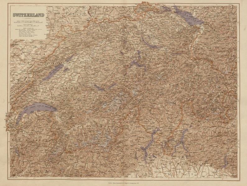 Associate Product Switzerland & the Alps. Haute Savoie. Italian Lakes. Aosta. STANFORD 1896 map