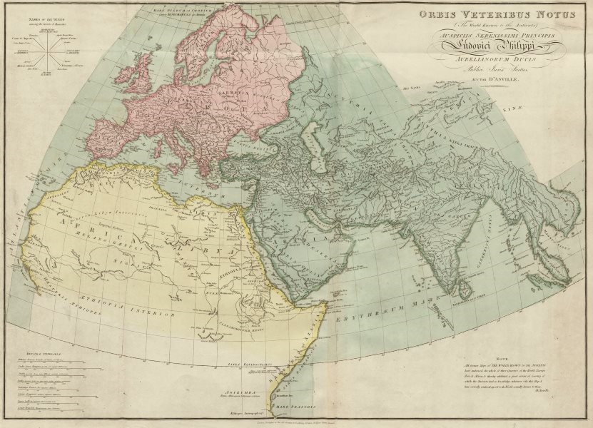 """Associate Product """"Orbis Veteribus Notus (The world known to the Antients)… D'ANVILLE 1815 map"""