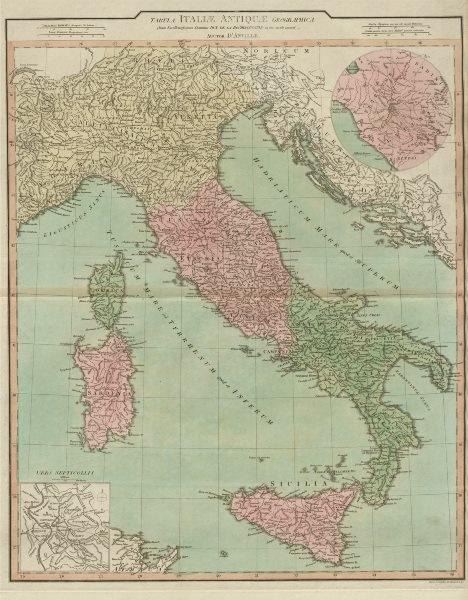 """Associate Product """"Tabula Italiae Antiquae geographica quam…"""" Ancient Italy. D'ANVILLE 1815 map"""