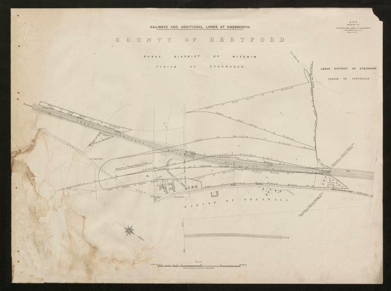 Associate Product GNR railway plan. Knebworth Hitchin Stevenage Shephalbury Hertfordshire 1911 map
