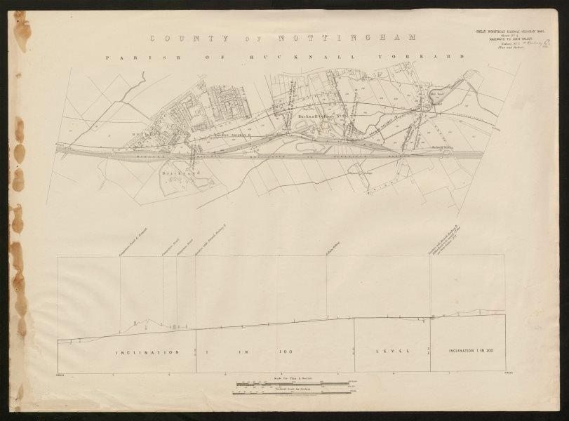 GNR railway plan. Hucknall, Nottingham. Butler's Hill Colliery Torkard 1880 map