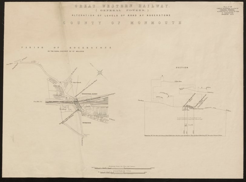 Associate Product GWR railway plan. Rogerstone, Newport, Monmouthshire. Tregwilym Road 1909 map