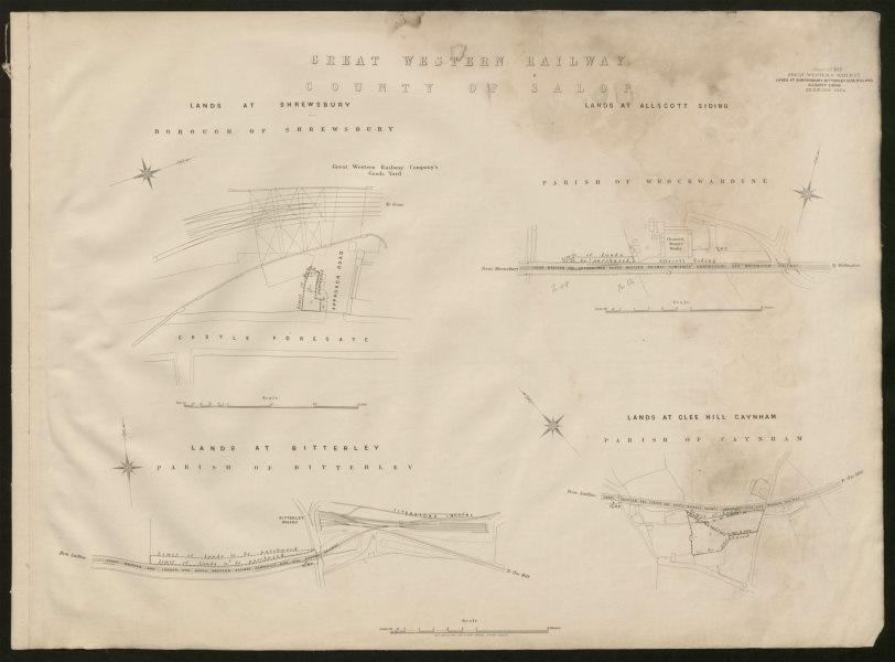 GWR railway plan. Shrewsbury Bitterley Clee Hill Allscott Siding Shrops 1904 map