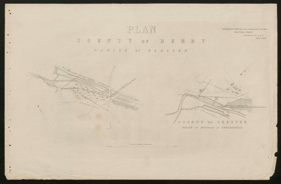 Associate Product Manchester Sheffield Lincolnshire Railway Glossop Mottram /Longdendale c1884 map