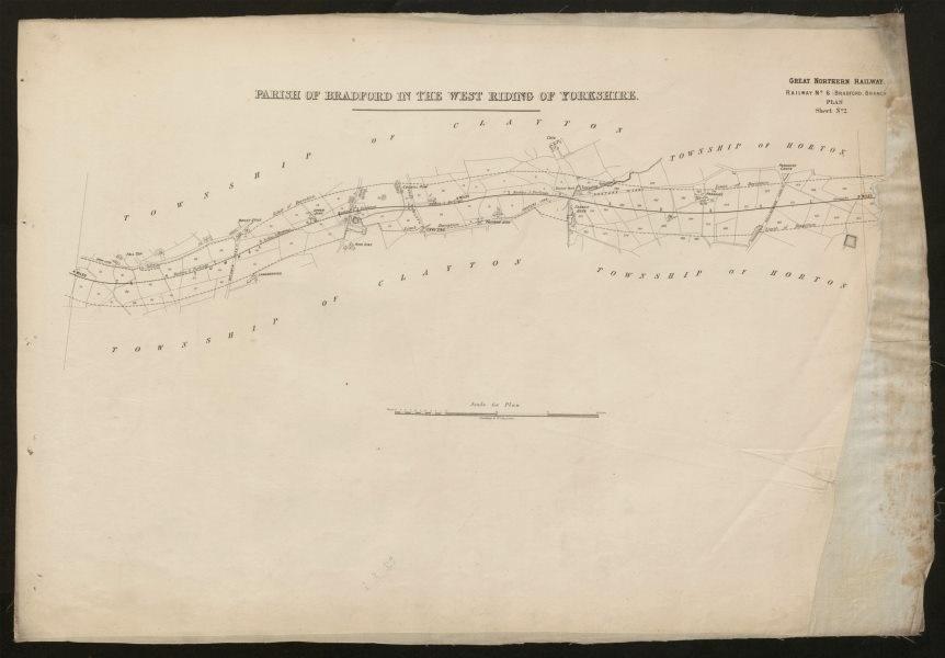 Associate Product GNR Railway plan. Bradford Great Horton Clayton. Baldwin Pasture Lane c1874 map