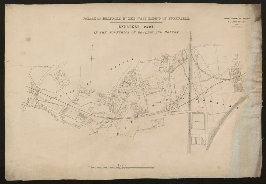 Associate Product GNR railway plan. Bradford Horton Bowling Holme Top Broomfields c1874 old map