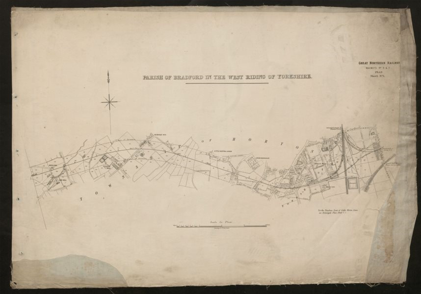 Associate Product GNR railway plan. Bradford Horton Bowling Holme Top Shearbridge c1874 old map