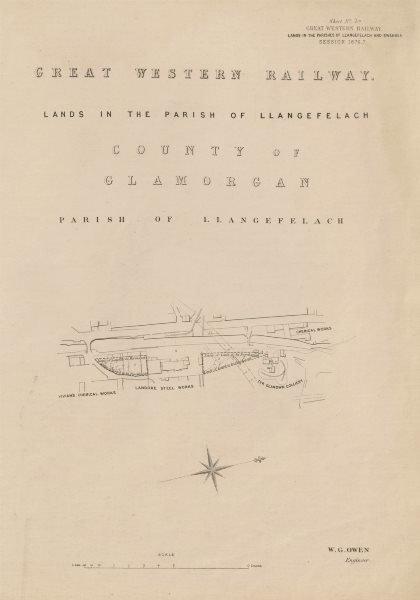 Associate Product GWR railway plan. Llangefelach, Swansea. Landore Tyr Glandwr Colliery 1877 map