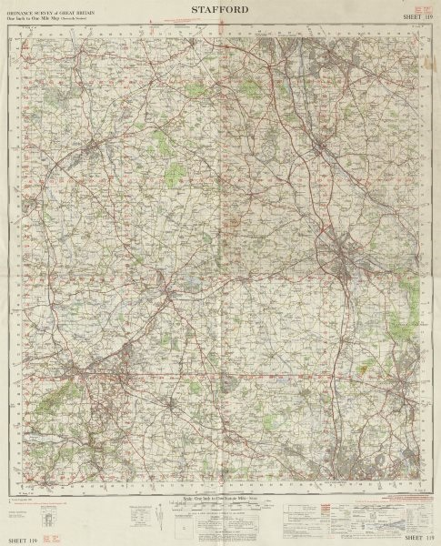 Associate Product Stafford sheet 119 Cannock Stoke-on-Trent Staffordshire ORDNANCE SURVEY 1965 map