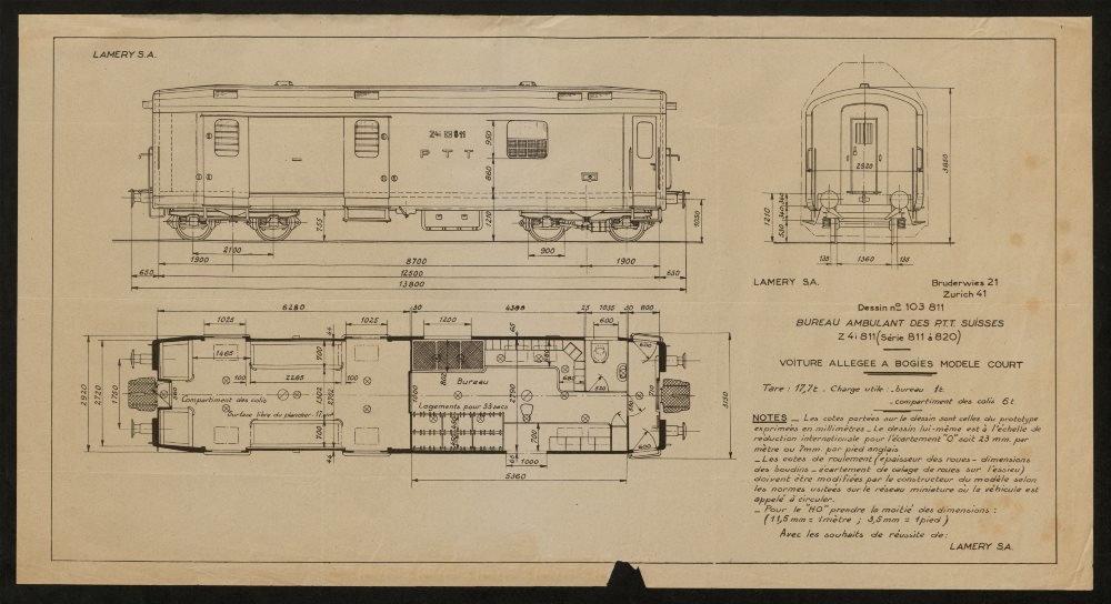 Bureau Ambulant des PTT Suisses z4i Serie 811 à 820 Swiss post rail car c1905