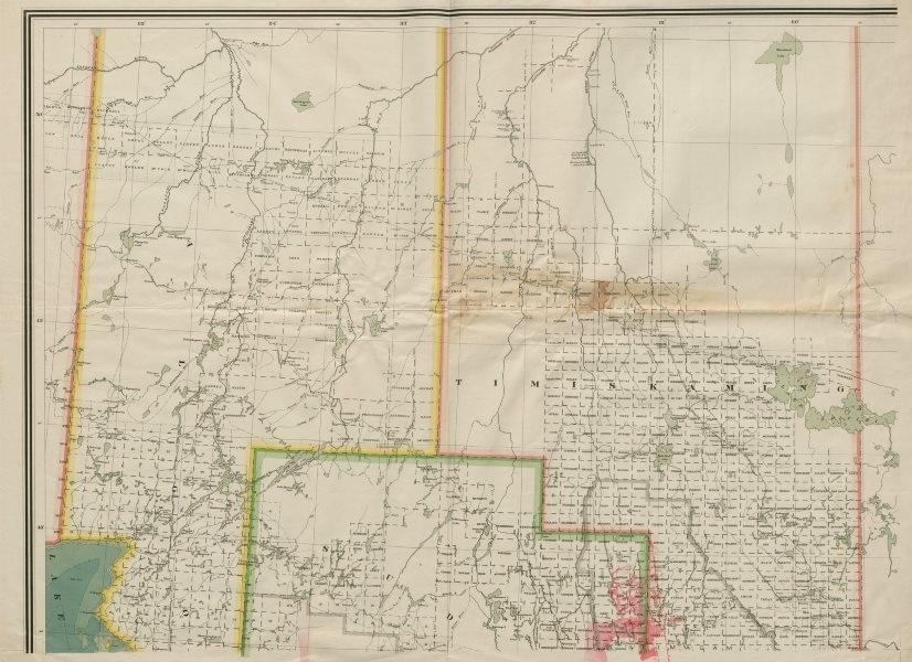 Associate Product Timinskaming, Algoma & Sudbury districts, Ontario, Canada c1915 old map