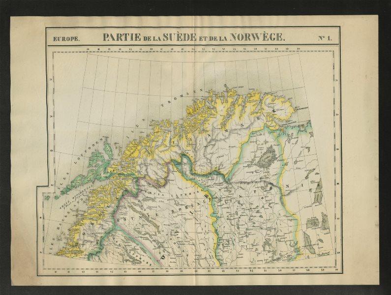 """Associate Product """"Partie de la Suède et de la Norwège"""" #1 Norway Lapland. VANDERMAELEN 1827 map"""