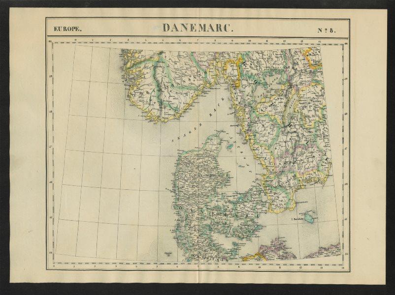 "Associate Product ""Danemarc"" #8 Denmark. Southern Sweden & Norway. VANDERMAELEN 1827 old map"