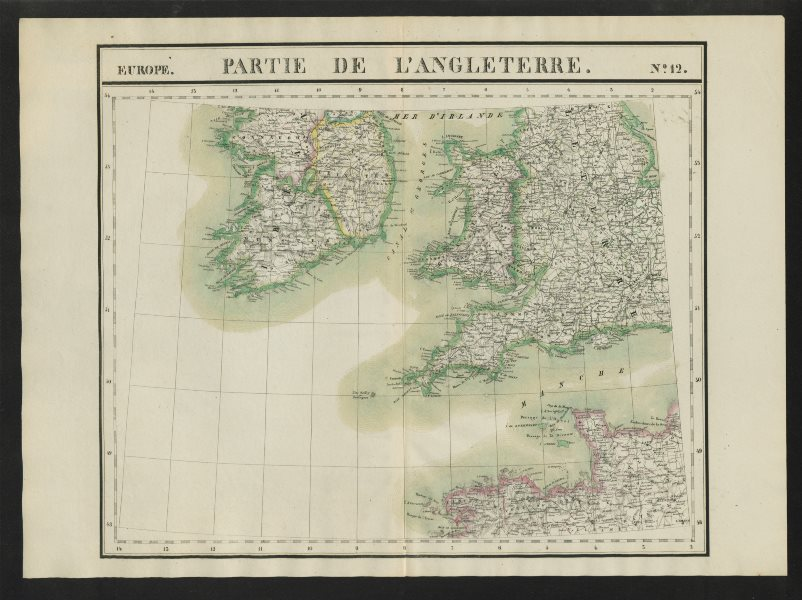"""Associate Product """"Partie de l'Angleterre"""" #12 Britain Ireland France. VANDERMAELEN 1827 old map"""