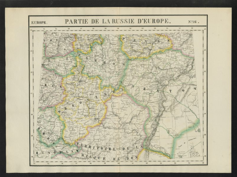 """Associate Product """"Partie de la Russie d'Europe"""" #16 Russia Don Volga Rivers VANDERMAELEN 1827 map"""
