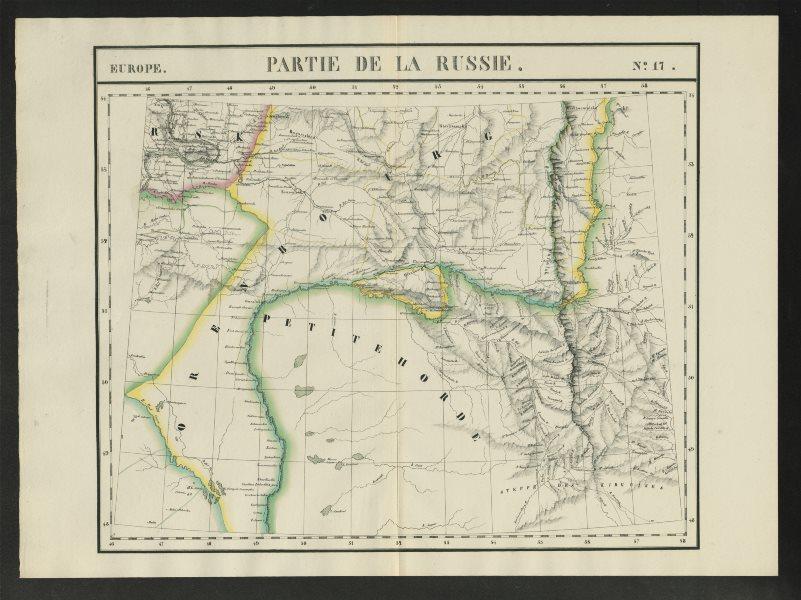 """Associate Product """"Partie de la Russie"""" #17 Ural River Russia Kazakhstan. VANDERMAELEN 1827 map"""