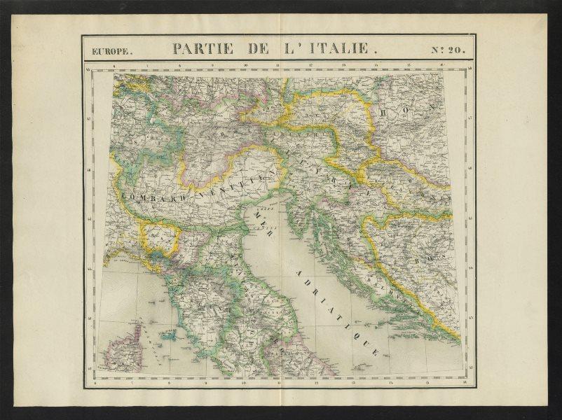 """Associate Product """"Partie de l'Italie"""" #20 N Italy Switzerland Croatia. VANDERMAELEN 1827 map"""