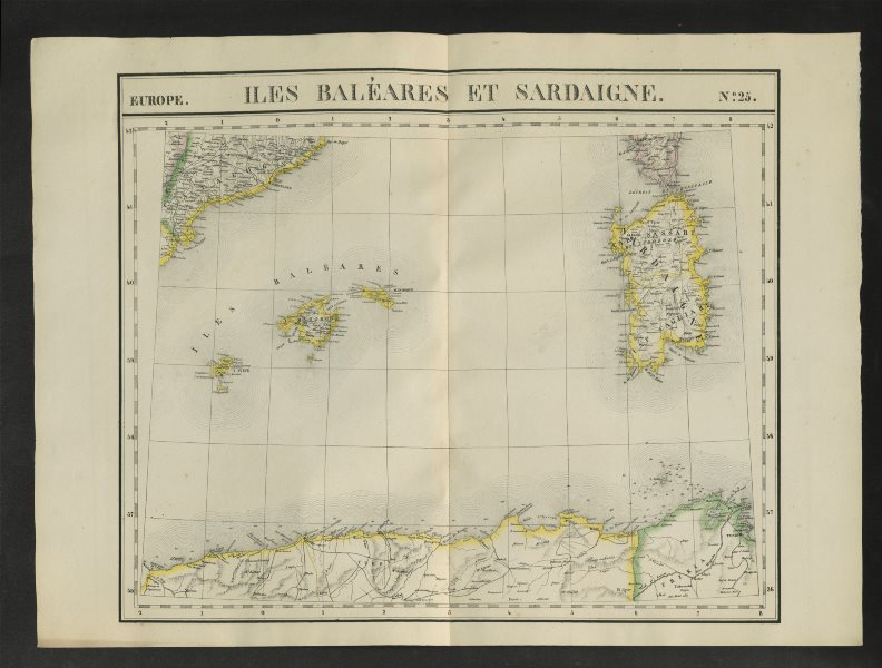 "Associate Product ""Iles Baléares et Sardaigne"" #25 W. Med Sardinia Balearics VANDERMAELEN 1827 map"