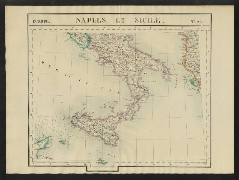 """Naples et Sicile"" #26 Southern Italy Sicily Albania. VANDERMAELEN 1827 map"