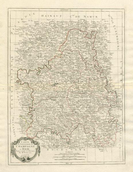 """Associate Product """"Carte du Gouvernement de Champagne et Brie"""". France. SANTINI / BONNE 1784 map"""