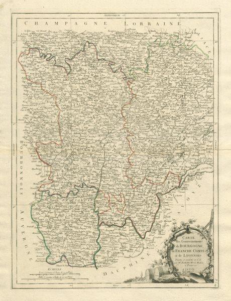 """Associate Product """"Gouvernements de Bourgogne…"""" Franche Comté & Lyonnois. SANTINI/BONNE 1784 map"""