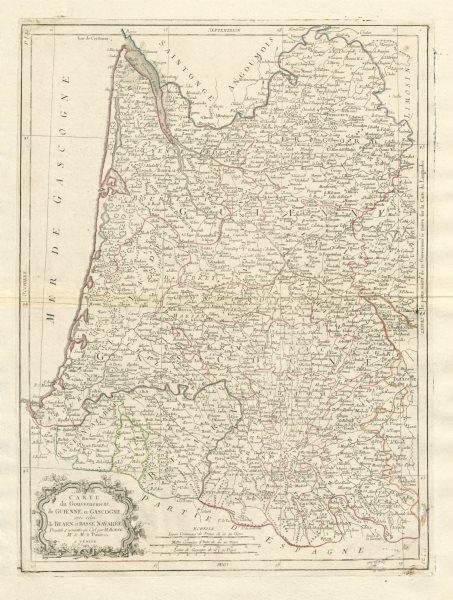 """Associate Product """"Governement de Guienne et Gascogne…"""". Aquitaine Gascony. SANTINI/BONNE 1784 map"""